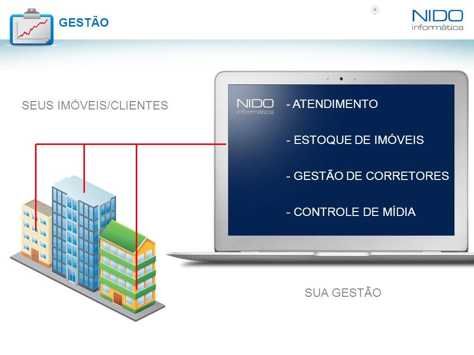 SUA GESTÃO - ATENDIMENTO - ESTOQUE DE IMÓVEIS - GESTÃO DE CORRETORES - CONTROLE DE MÍDIA SEUS IMÓVEIS/CLIENTES GESTÃO