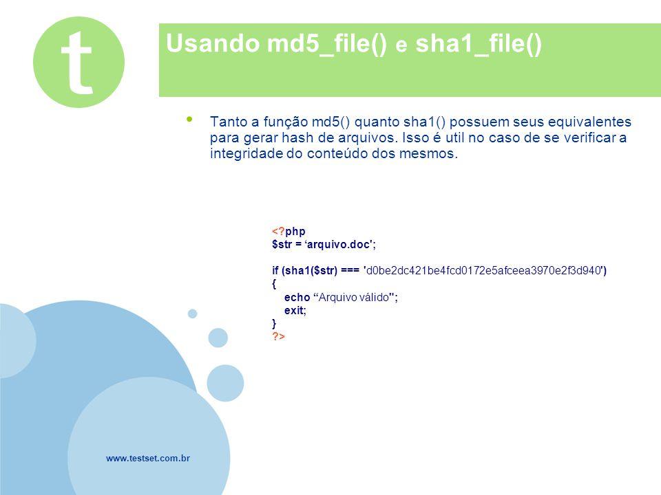 www.testset.com.br Company LOGO Usando md5_file() e sha1_file() Tanto a função md5() quanto sha1() possuem seus equivalentes para gerar hash de arquiv