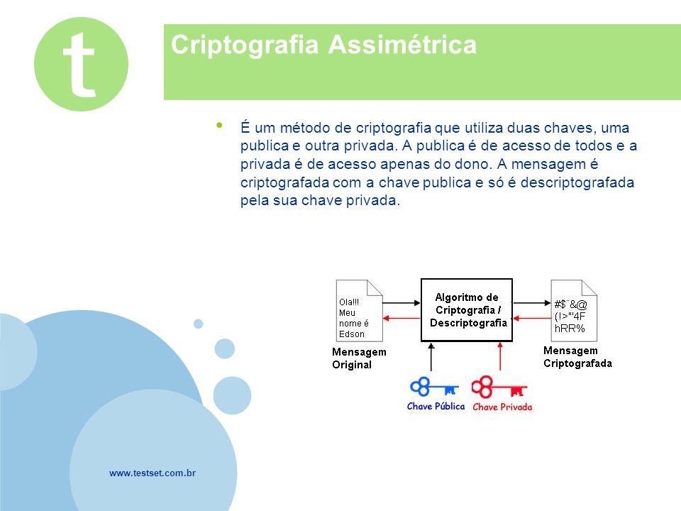 www.testset.com.br Company LOGO Criptografia Assimétrica É um método de criptografia que utiliza duas chaves, uma publica e outra privada.