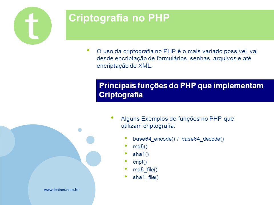www.testset.com.br Company LOGO Criptografia no PHP O uso da criptografia no PHP é o mais variado possível, vai desde encriptação de formulários, senhas, arquivos e até encriptação de XML.