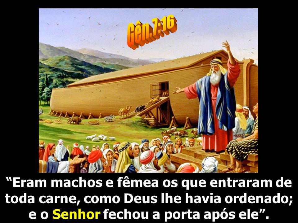 Eram machos e fêmea os que entraram de toda carne, como Deus lhe havia ordenado; e o Senhor fechou a porta após ele.