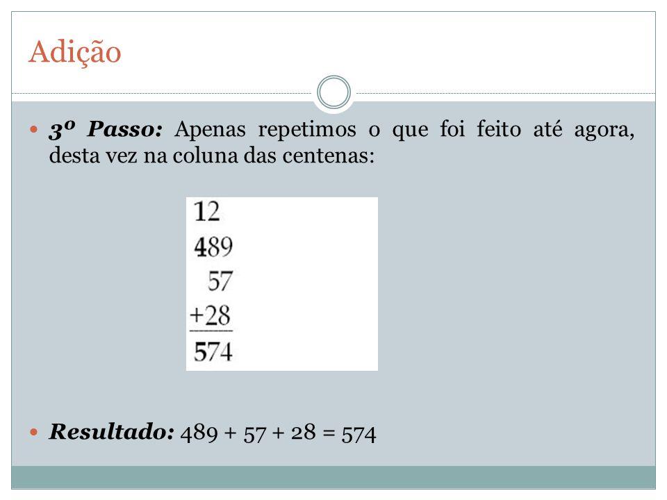 Adição 3º Passo: Apenas repetimos o que foi feito até agora, desta vez na coluna das centenas: Resultado: 489 + 57 + 28 = 574