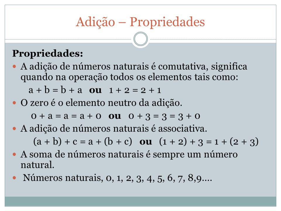 Adição – Propriedades Propriedades: A adição de números naturais é comutativa, significa quando na operação todos os elementos tais como: a + b = b +