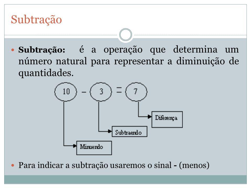 Subtração Subtração: é a operação que determina um número natural para representar a diminuição de quantidades. Para indicar a subtração usaremos o si