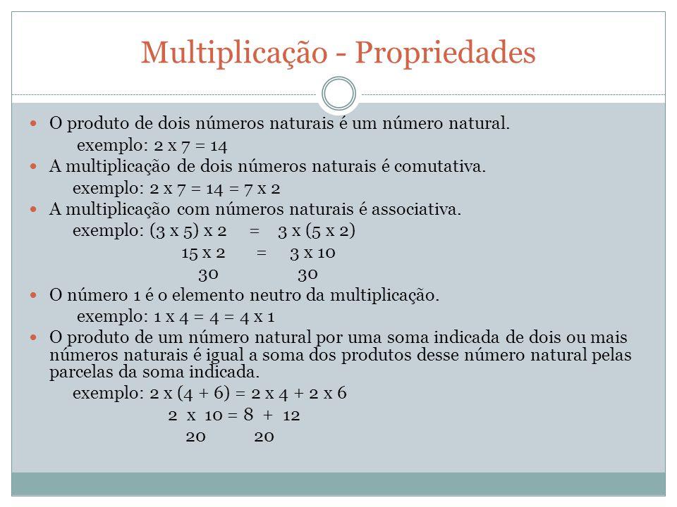 Multiplicação - Propriedades O produto de dois números naturais é um número natural. exemplo: 2 x 7 = 14 A multiplicação de dois números naturais é co