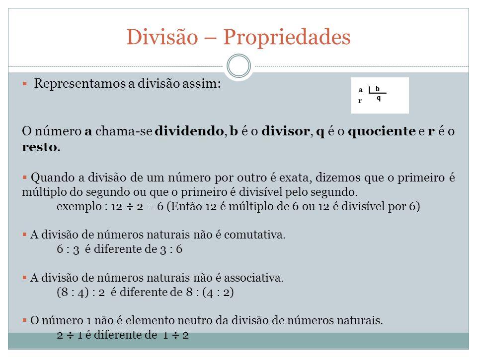 Representamos a divisão assim: O número a chama-se dividendo, b é o divisor, q é o quociente e r é o resto. Quando a divisão de um número por outro é