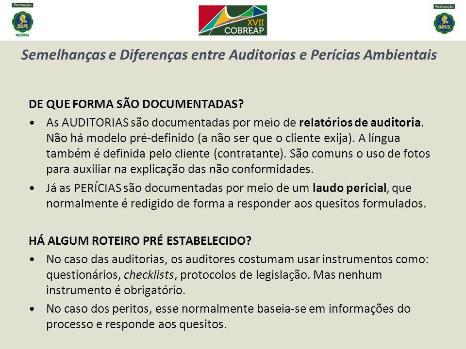 Semelhanças e Diferenças entre Auditorias e Perícias Ambientais DE QUE FORMA SÃO DOCUMENTADAS.
