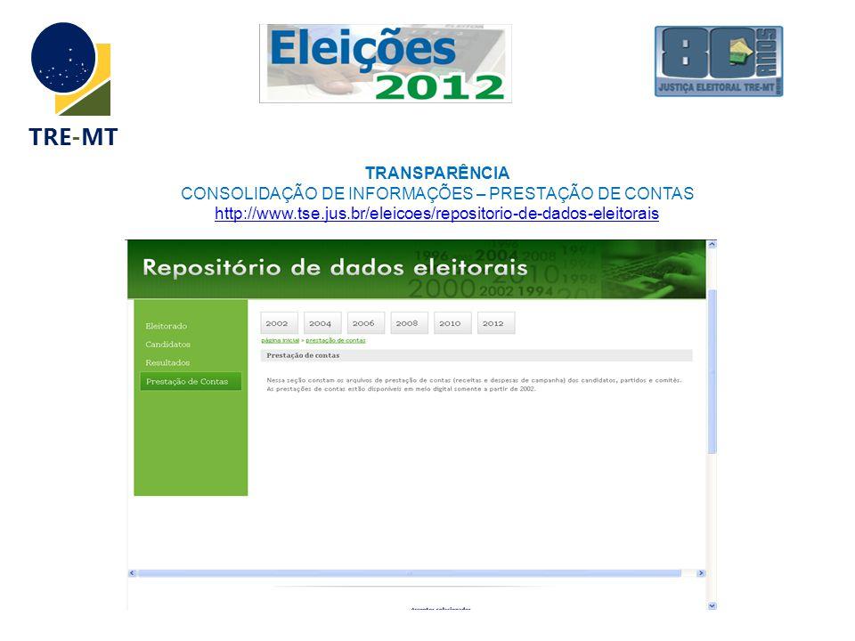 TRE-MT TRANSPARÊNCIA CONSOLIDAÇÃO DE INFORMAÇÕES – PRESTAÇÃO DE CONTAS http://www.tse.jus.br/eleicoes/repositorio-de-dados-eleitorais