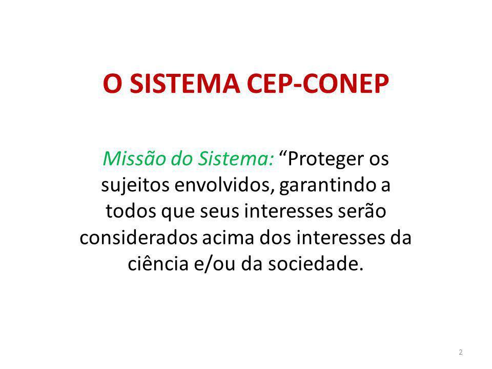 O SISTEMA CEP-CONEP Missão do Sistema: Proteger os sujeitos envolvidos, garantindo a todos que seus interesses serão considerados acima dos interesses