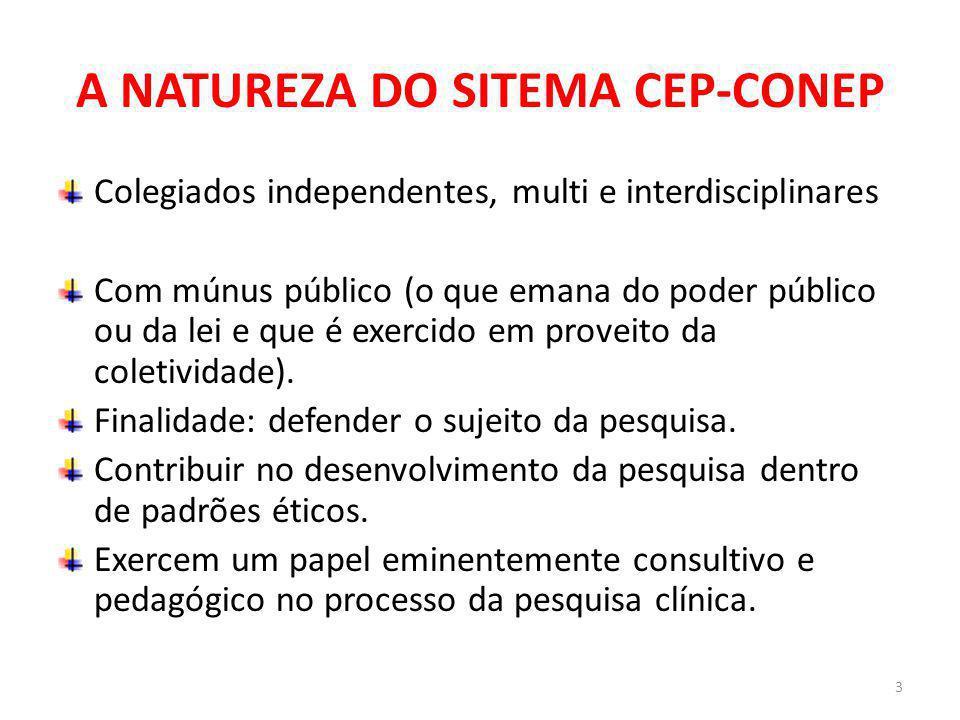 A NATUREZA DO SITEMA CEP-CONEP Colegiados independentes, multi e interdisciplinares Com múnus público (o que emana do poder público ou da lei e que é