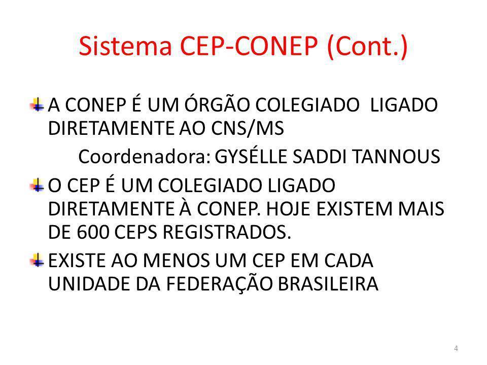Sistema CEP-CONEP (Cont.) A CONEP É UM ÓRGÃO COLEGIADO LIGADO DIRETAMENTE AO CNS/MS Coordenadora: GYSÉLLE SADDI TANNOUS O CEP É UM COLEGIADO LIGADO DI