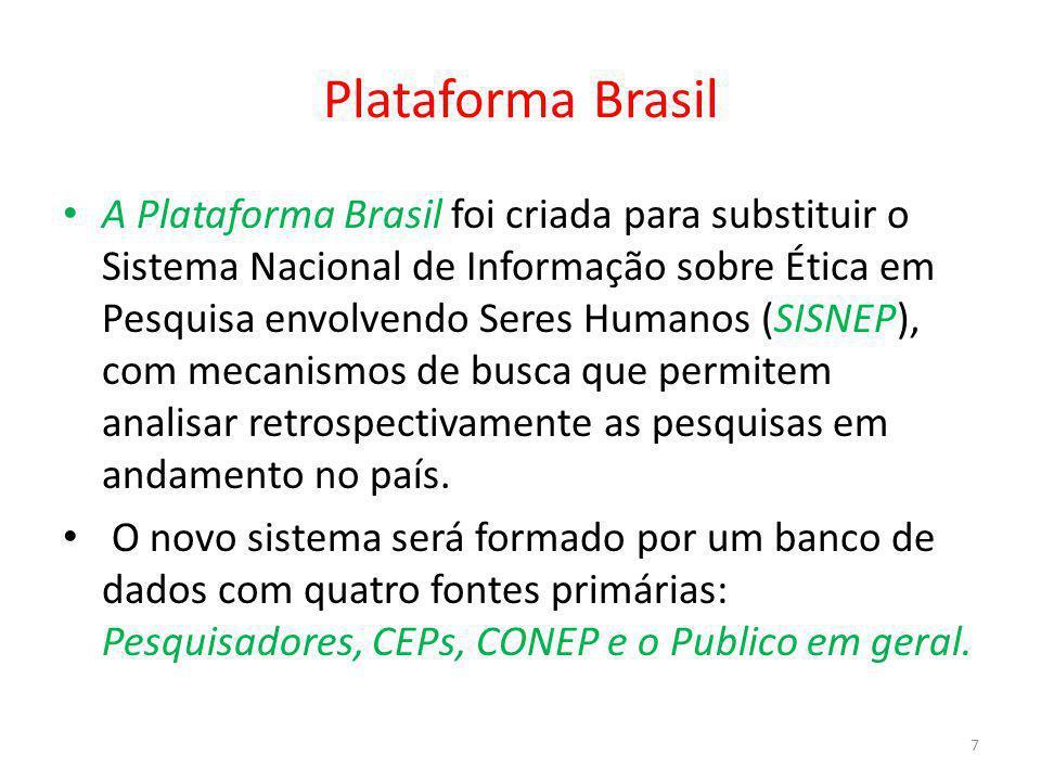 Plataforma Brasil A Plataforma Brasil foi criada para substituir o Sistema Nacional de Informação sobre Ética em Pesquisa envolvendo Seres Humanos (SI