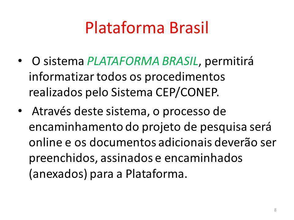 Plataforma Brasil O sistema PLATAFORMA BRASIL, permitirá informatizar todos os procedimentos realizados pelo Sistema CEP/CONEP. Através deste sistema,