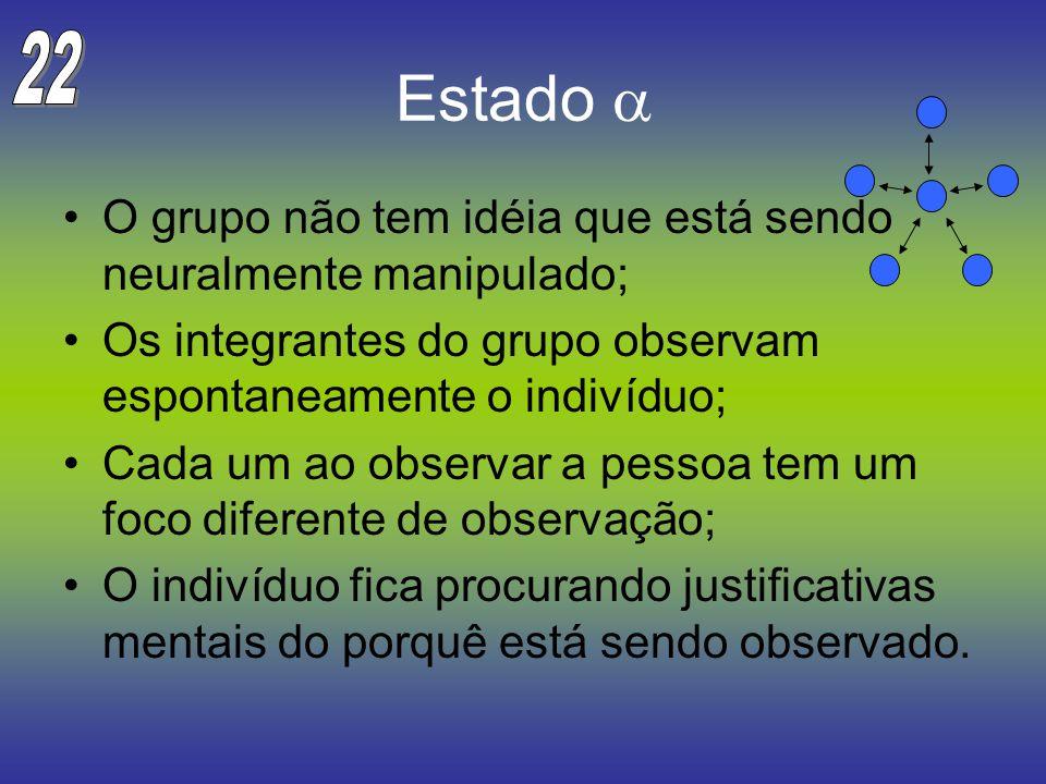 Estado O grupo não tem idéia que está sendo neuralmente manipulado; Os integrantes do grupo observam espontaneamente o indivíduo; Cada um ao observar