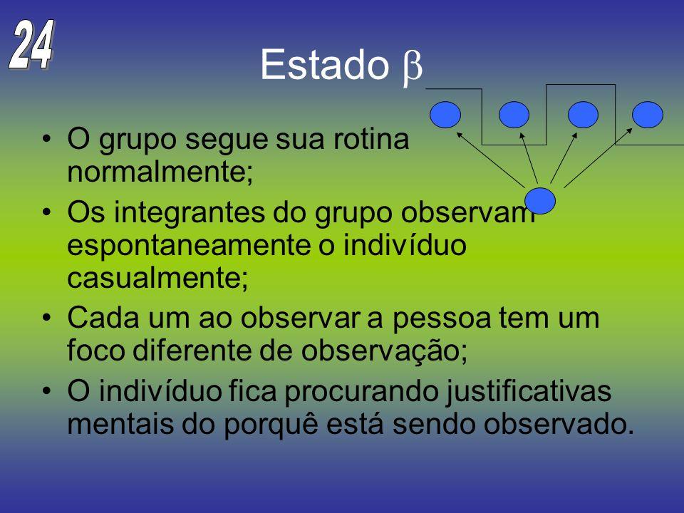 Estado O grupo segue sua rotina normalmente; Os integrantes do grupo observam espontaneamente o indivíduo casualmente; Cada um ao observar a pessoa te