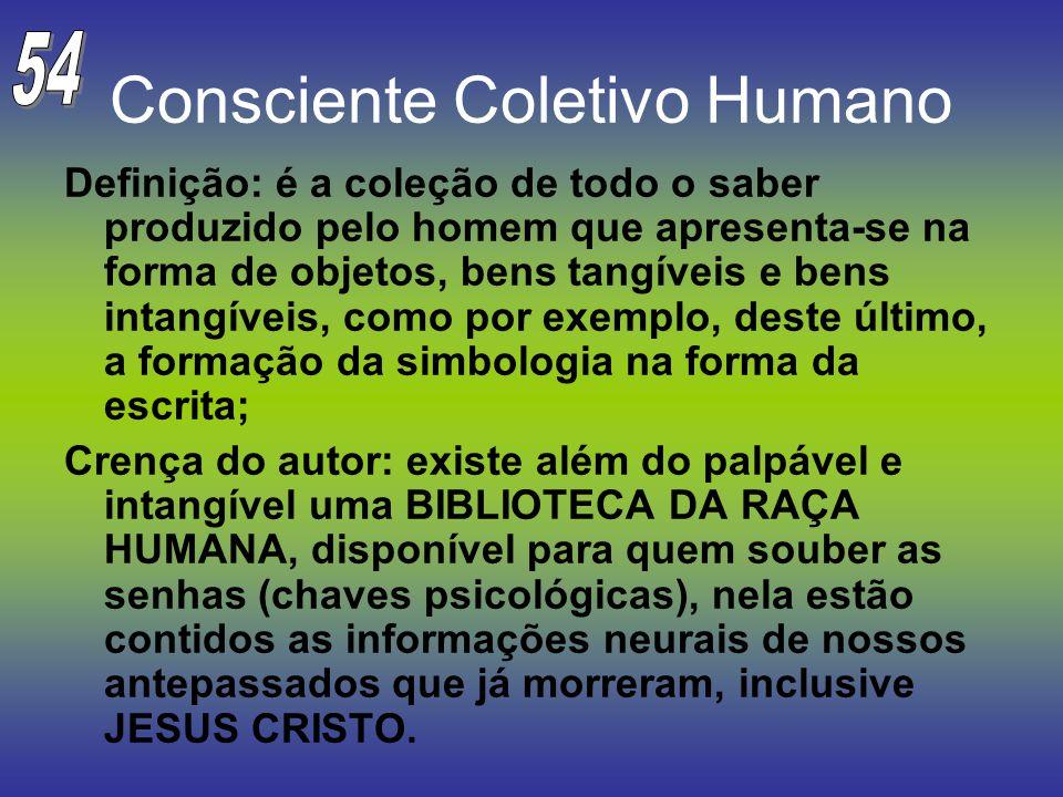 Consciente Coletivo Humano Definição: é a coleção de todo o saber produzido pelo homem que apresenta-se na forma de objetos, bens tangíveis e bens int