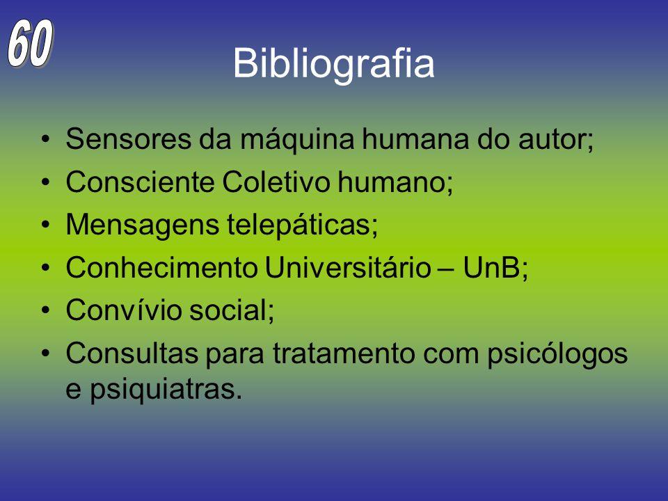 Bibliografia Sensores da máquina humana do autor; Consciente Coletivo humano; Mensagens telepáticas; Conhecimento Universitário – UnB; Convívio social