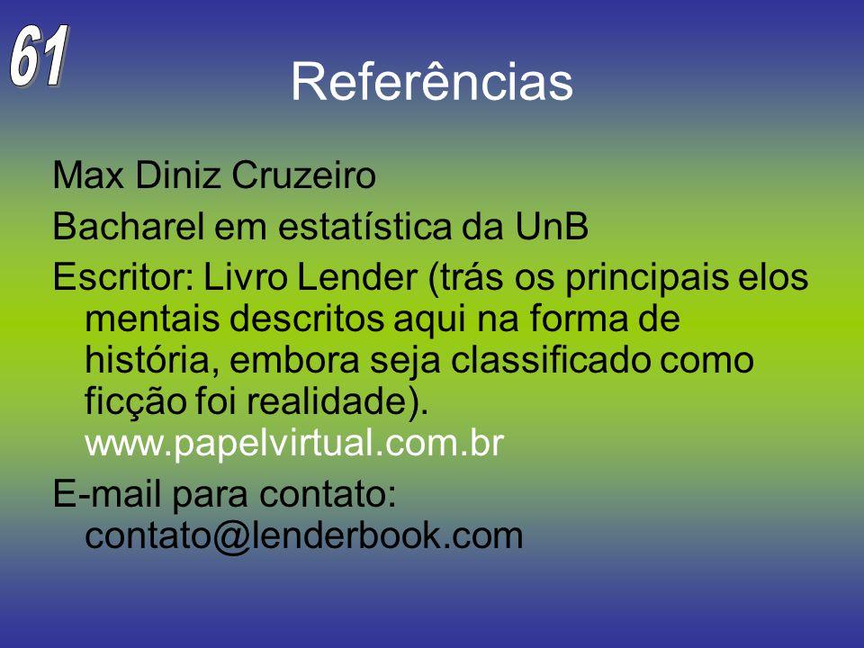 Referências Max Diniz Cruzeiro Bacharel em estatística da UnB Escritor: Livro Lender (trás os principais elos mentais descritos aqui na forma de histó