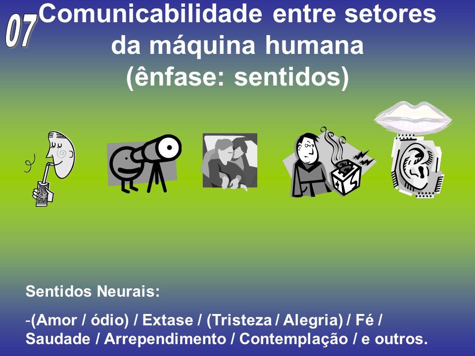 Comunicabilidade entre setores da máquina humana (ênfase: sentidos) Sentidos Neurais: -(Amor / ódio) / Extase / (Tristeza / Alegria) / Fé / Saudade /