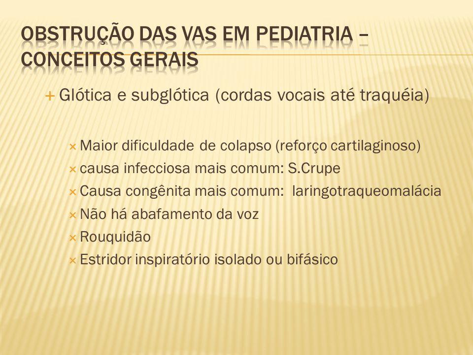 Glótica e subglótica (cordas vocais até traquéia) Maior dificuldade de colapso (reforço cartilaginoso) causa infecciosa mais comum: S.Crupe Causa cong
