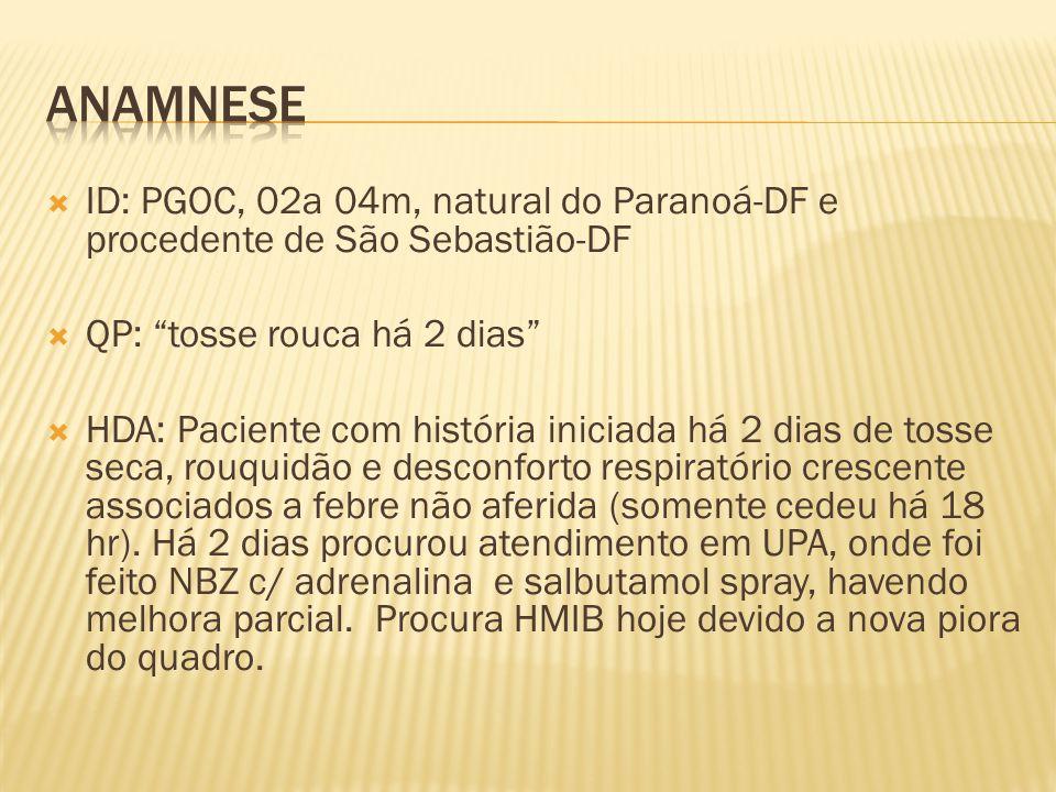 ID: PGOC, 02a 04m, natural do Paranoá-DF e procedente de São Sebastião-DF QP: tosse rouca há 2 dias HDA: Paciente com história iniciada há 2 dias de t