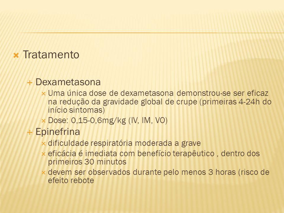 Tratamento Dexametasona Uma única dose de dexametasona demonstrou-se ser eficaz na redução da gravidade global de crupe (primeiras 4-24h do início sin