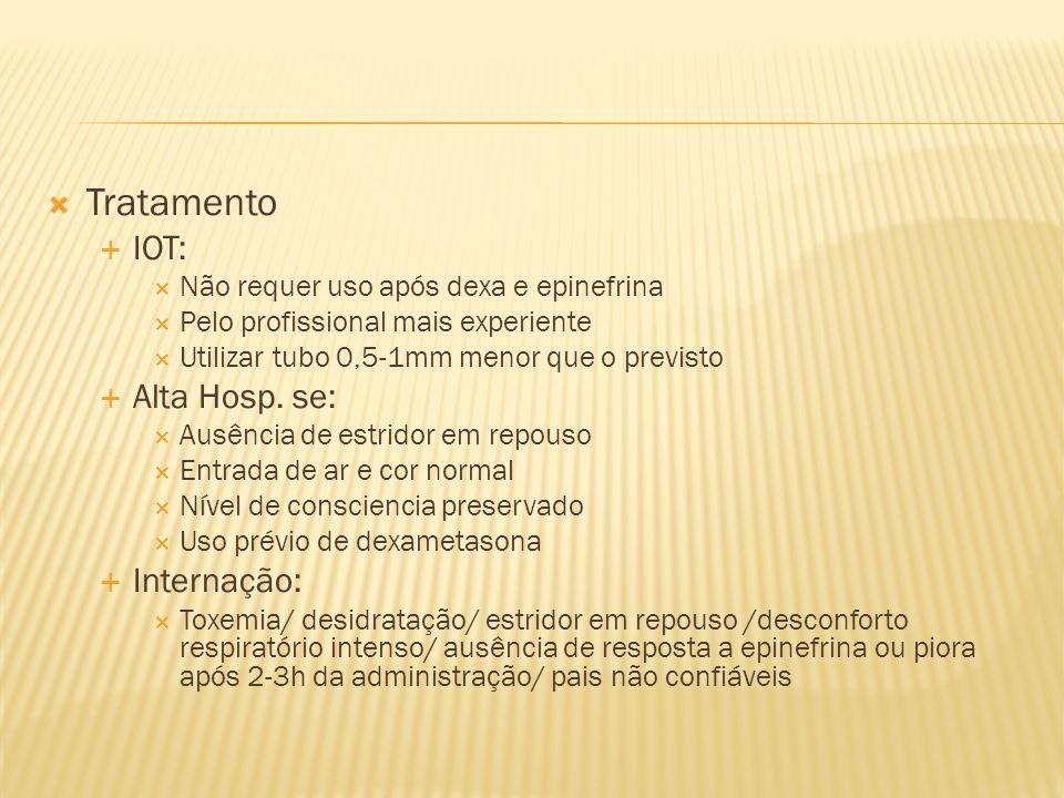 Tratamento IOT: Não requer uso após dexa e epinefrina Pelo profissional mais experiente Utilizar tubo 0,5-1mm menor que o previsto Alta Hosp. se: Ausê