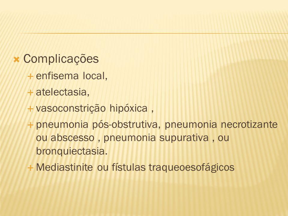 Complicações enfisema local, atelectasia, vasoconstrição hipóxica, pneumonia pós-obstrutiva, pneumonia necrotizante ou abscesso, pneumonia supurativa,