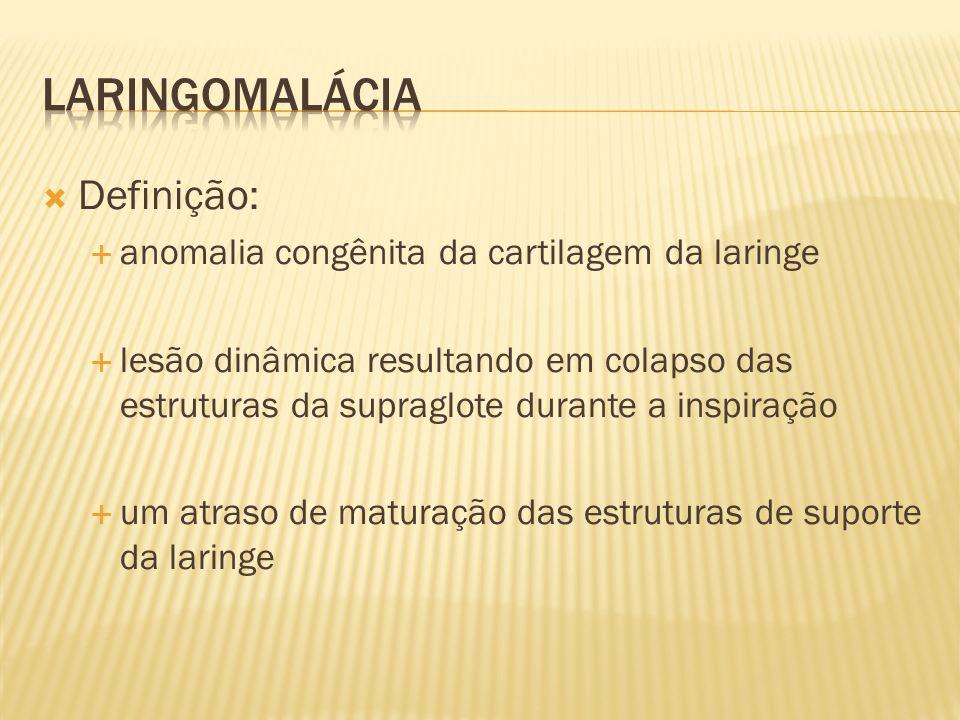 Definição: anomalia congênita da cartilagem da laringe lesão dinâmica resultando em colapso das estruturas da supraglote durante a inspiração um atras
