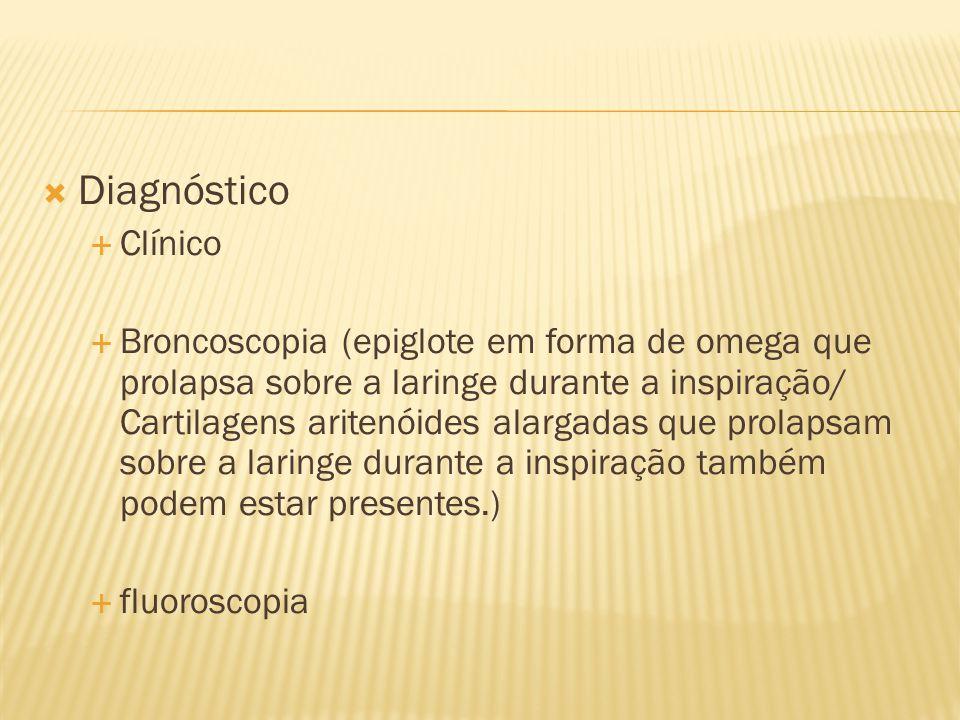 Diagnóstico Clínico Broncoscopia (epiglote em forma de omega que prolapsa sobre a laringe durante a inspiração/ Cartilagens aritenóides alargadas que