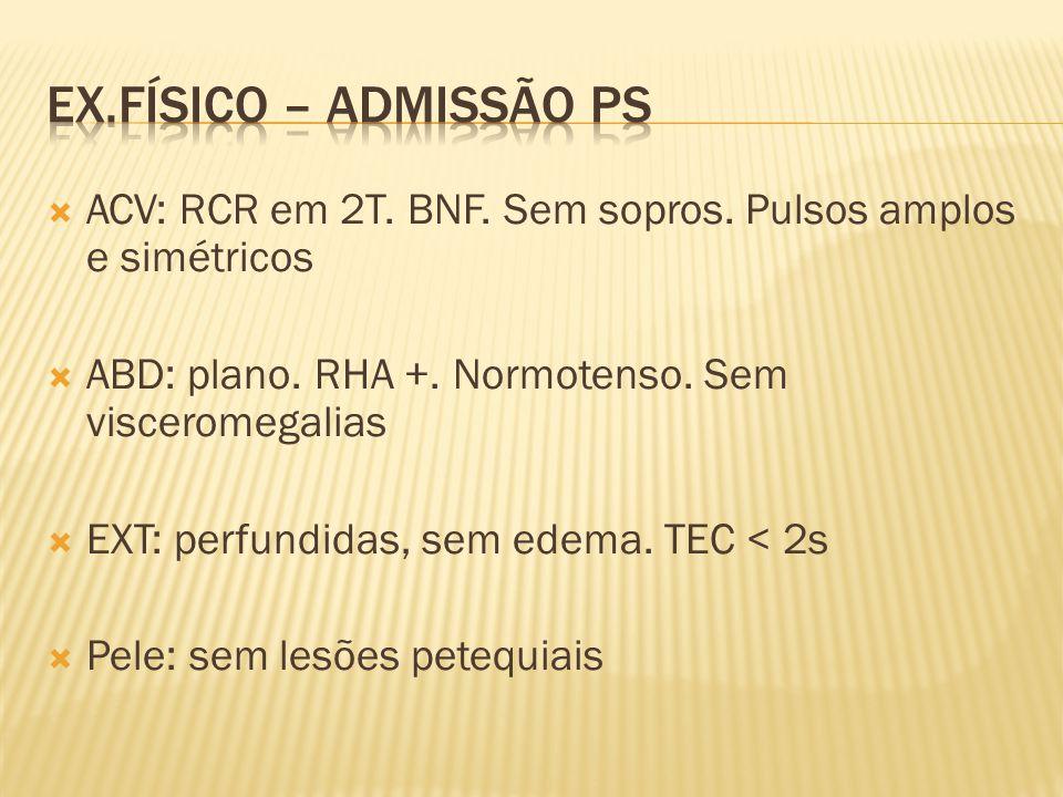 ACV: RCR em 2T. BNF. Sem sopros. Pulsos amplos e simétricos ABD: plano. RHA +. Normotenso. Sem visceromegalias EXT: perfundidas, sem edema. TEC < 2s P