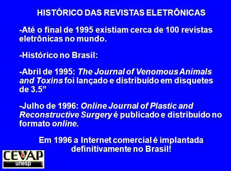 HISTÓRICO DAS REVISTAS ELETRÔNICAS -Até o final de 1995 existiam cerca de 100 revistas eletrônicas no mundo.