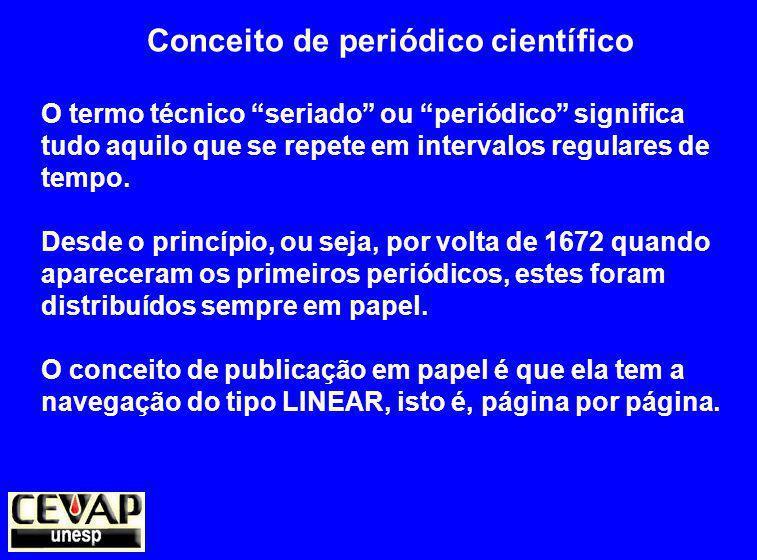 Conceito de periódico científico O termo técnico seriado ou periódico significa tudo aquilo que se repete em intervalos regulares de tempo.