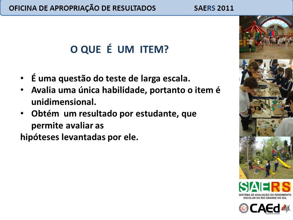 O QUE É UM ITEM? OFICINA DE APROPRIAÇÃO DE RESULTADOS SAERS 2011 É uma questão do teste de larga escala. Avalia uma única habilidade, portanto o item