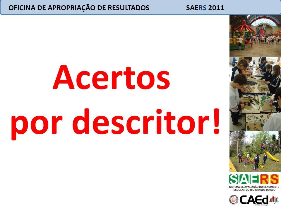 Acertos por descritor! OFICINA DE APROPRIAÇÃO DE RESULTADOS SAERS 2011