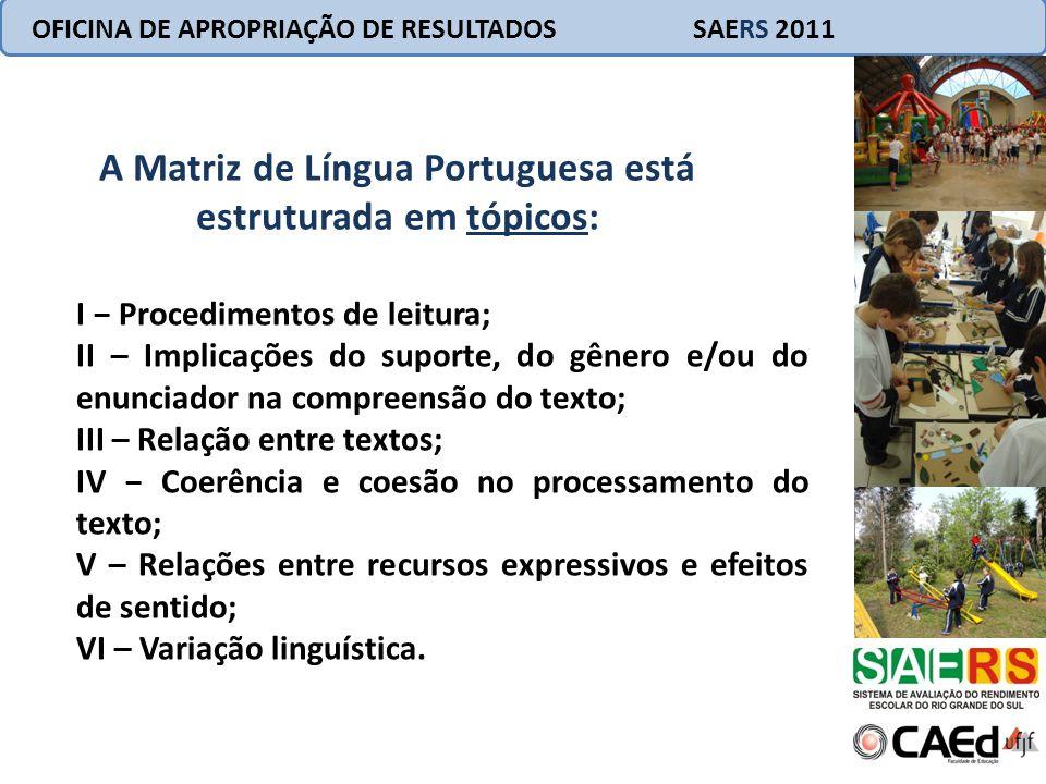 OFICINA DE APROPRIAÇÃO DE RESULTADOS SAERS 2011 A Matriz de Língua Portuguesa está estruturada em tópicos: I Procedimentos de leitura; II – Implicaçõe