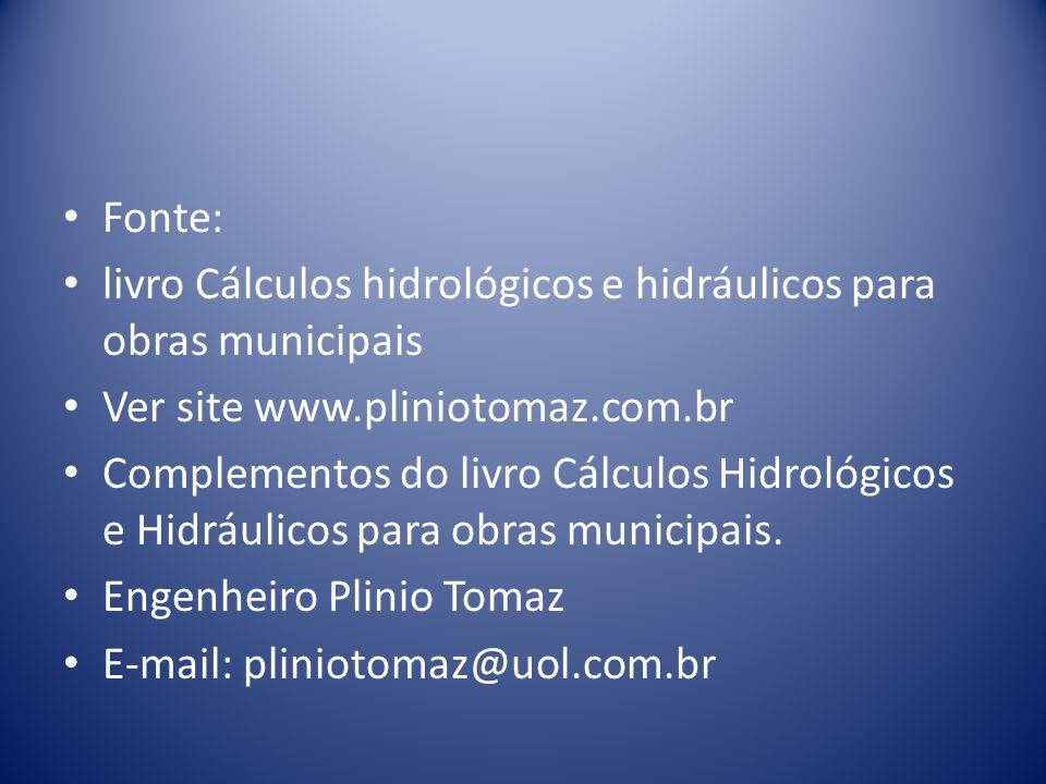 Fonte: livro Cálculos hidrológicos e hidráulicos para obras municipais Ver site www.pliniotomaz.com.br Complementos do livro Cálculos Hidrológicos e Hidráulicos para obras municipais.