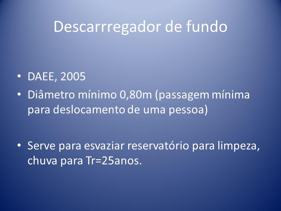 Descarrregador de fundo DAEE, 2005 Diâmetro mínimo 0,80m (passagem mínima para deslocamento de uma pessoa) Serve para esvaziar reservatório para limpeza, chuva para Tr=25anos.