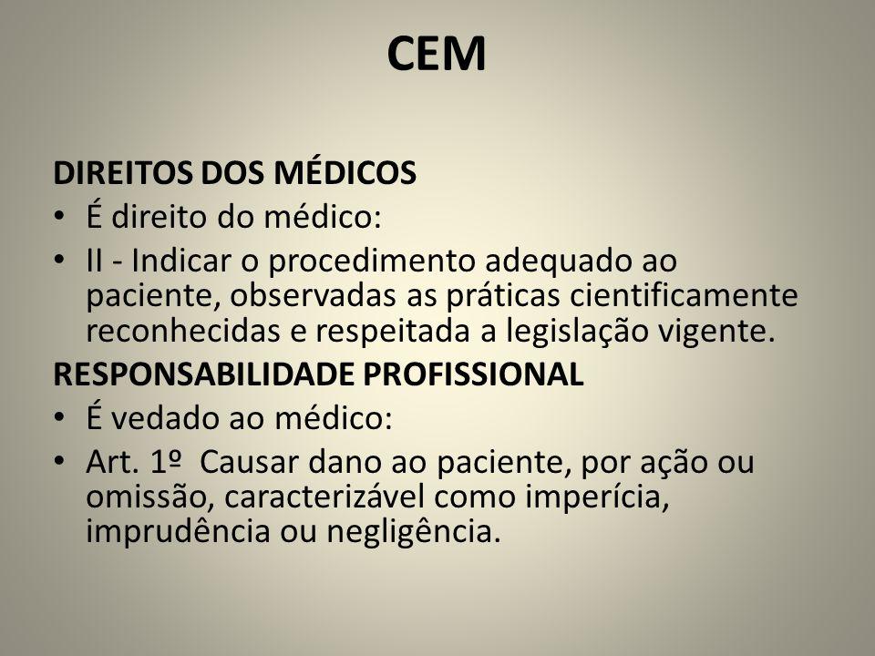 CEM DIREITOS DOS MÉDICOS É direito do médico: II - Indicar o procedimento adequado ao paciente, observadas as práticas cientificamente reconhecidas e respeitada a legislação vigente.