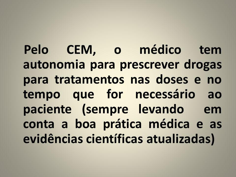 Pelo CEM, o médico tem autonomia para prescrever drogas para tratamentos nas doses e no tempo que for necessário ao paciente (sempre levando em conta a boa prática médica e as evidências científicas atualizadas)