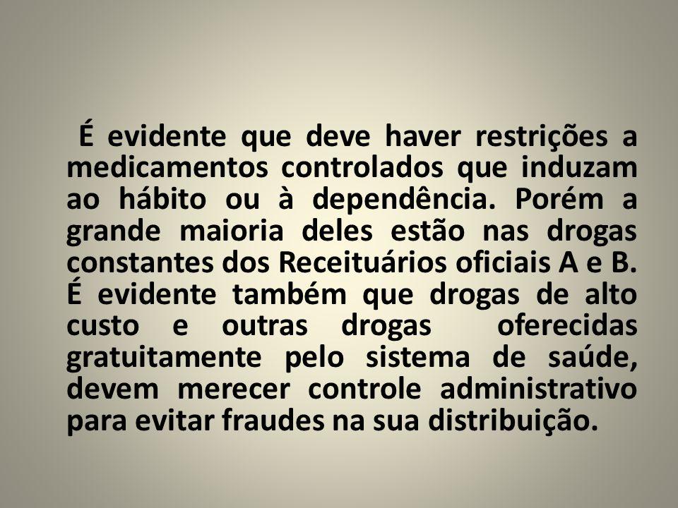 É evidente que deve haver restrições a medicamentos controlados que induzam ao hábito ou à dependência.