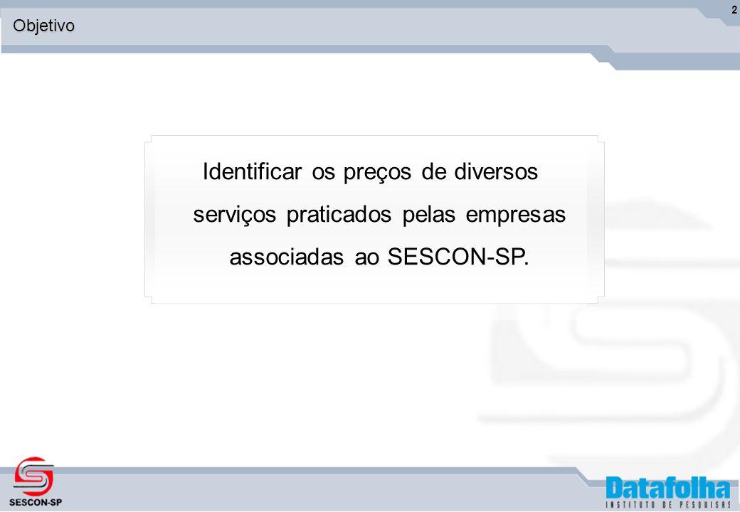 2Objetivo Identificar os preços de diversos serviços praticados pelas empresas associadas ao SESCON-SP.