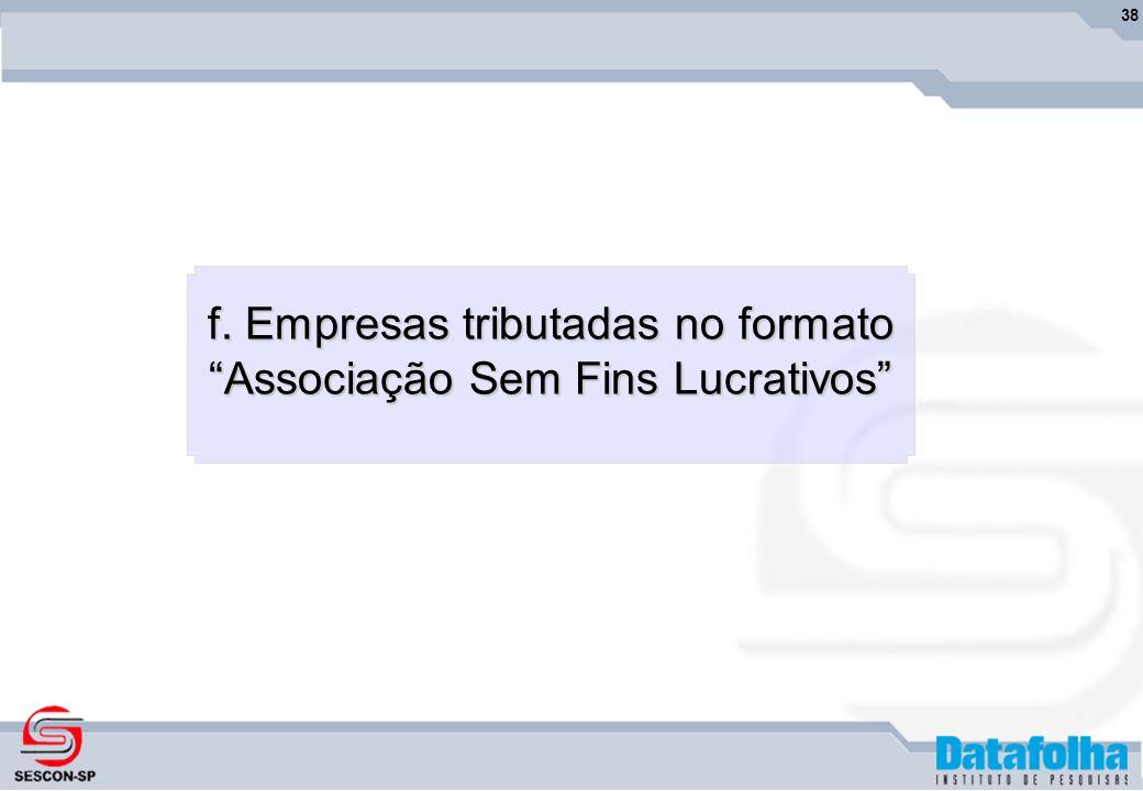 38 f. Empresas tributadas no formato Associação Sem Fins Lucrativos