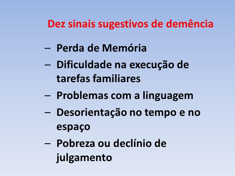 Dez sinais sugestivos de demência –Perda de Memória –Dificuldade na execução de tarefas familiares –Problemas com a linguagem –Desorientação no tempo e no espaço –Pobreza ou declínio de julgamento
