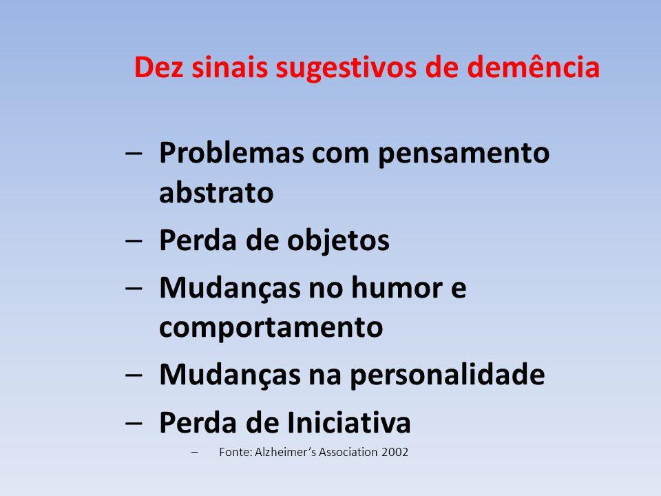 Dez sinais sugestivos de demência –Problemas com pensamento abstrato –Perda de objetos –Mudanças no humor e comportamento –Mudanças na personalidade –Perda de Iniciativa –Fonte: Alzheimers Association 2002