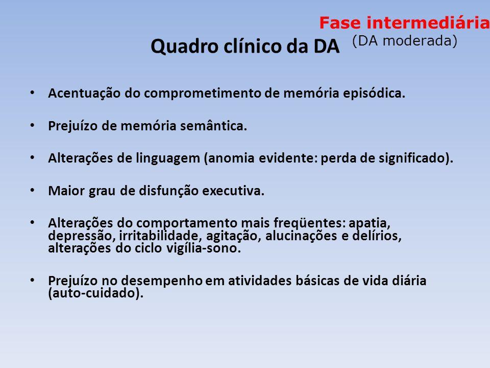 Quadro clínico da DA Acentuação do comprometimento de memória episódica.