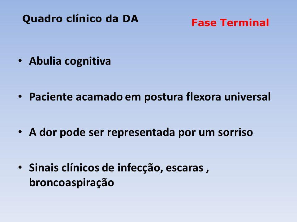 Abulia cognitiva Paciente acamado em postura flexora universal A dor pode ser representada por um sorriso Sinais clínicos de infecção, escaras, broncoaspiração Fase Terminal Quadro clínico da DA