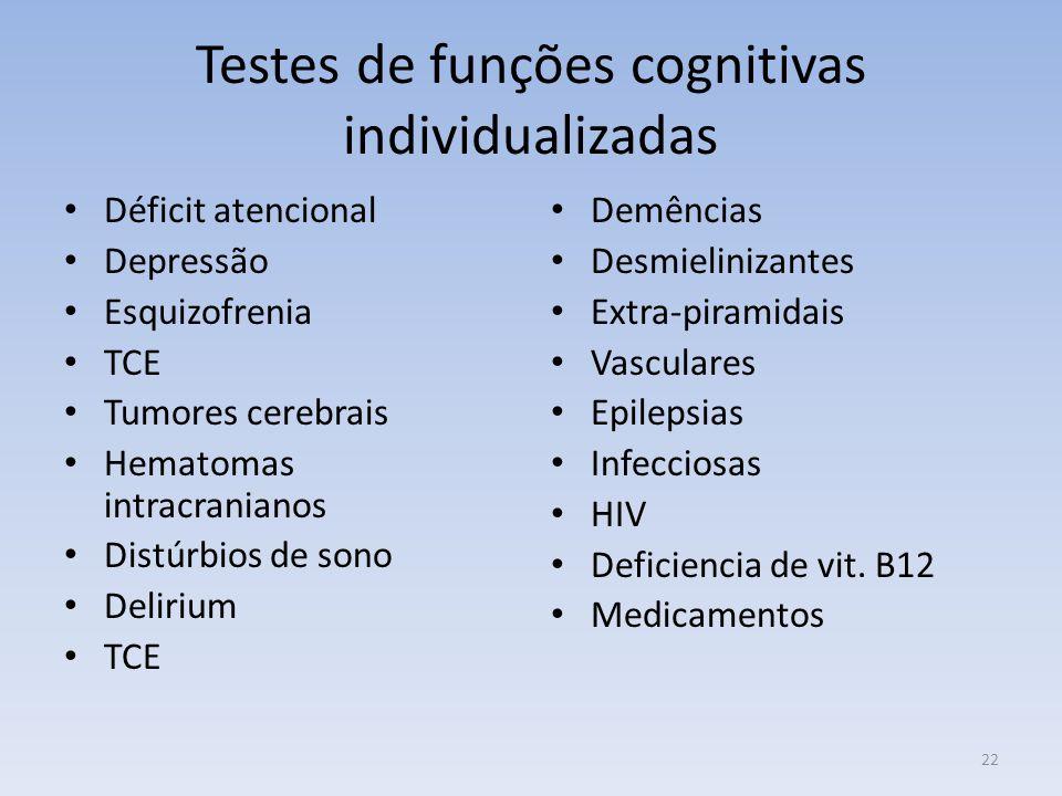 Testes de funções cognitivas individualizadas Déficit atencional Depressão Esquizofrenia TCE Tumores cerebrais Hematomas intracranianos Distúrbios de sono Delirium TCE Demências Desmielinizantes Extra-piramidais Vasculares Epilepsias Infecciosas HIV Deficiencia de vit.