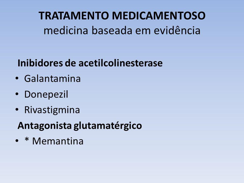 TRATAMENTO MEDICAMENTOSO medicina baseada em evidência Inibidores de acetilcolinesterase Galantamina Donepezil Rivastigmina Antagonista glutamatérgico * Memantina