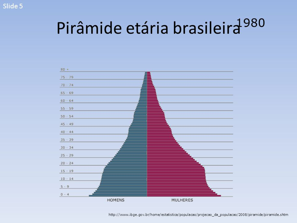 Pirâmide etária brasileira 1980 http://www.ibge.gov.br/home/estatistica/populacao/projecao_da_populacao/2008/piramide/piramide.shtm Slide 5